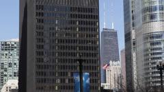 Chicago Downtown Skyline John Hancock Center Financial Busy City Center Blue Sky Stock Footage