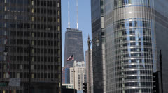 Chicago Skyline, Landmark Corporate Building, American Flag, Business Day Office Stock Footage