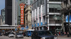 Theatre Sign, State Street, Famous Chicago Theater, Traffic Jam, People Walking Stock Footage