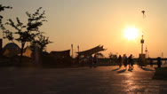 Stock Video Footage of People enjoying sunset at Hangang park
