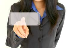 business woman touch digital interface - stock photo