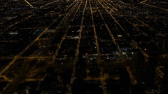 Illuminated Chicago Skyline by night, Commuters Cars Traffic Jam, Congestion Stock Footage
