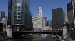 Chicago River, Downtown Skyline, Tour Boat, Skyscrapers, Urban Business District Stock Footage