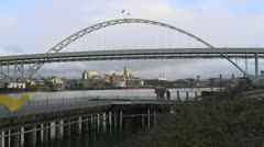 Fremont Bridge in Portland Stock Footage