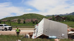 TRAVEL TRAILER WRECK Stock Footage