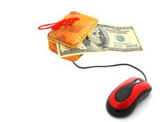 e-commerce - computer mouse and money - stock photo
