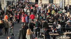 Crowd of people walking on County Hall. Sunny day.  London, UK  4 Stock Footage