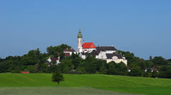Germany, Bavaria, Upper Bavaria, View of andechs abbey Stock Footage