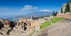 Ruins of the greek theater, taormina Stock Photos