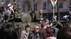 People celebrate the Victory Day. Stock Footage