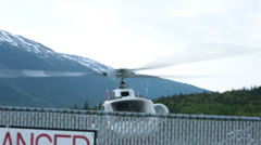 Helicopter takeoff sightseeing tourism flight Skagway Alaska HD 7195 - stock footage
