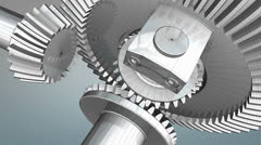 Differential gear wireframe, engineering, mechanical. Stock Footage