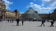 Paris, France. Louvre Museum. Pyramid - Musée du Louvre 17 Stock Footage