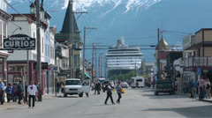 Historic downtown Skagway Alaska road traffic pt 1 HD 7179 Stock Footage