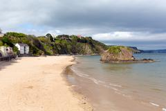 North beach Tenby Pembrokeshire Wales - stock photo