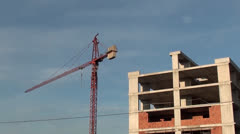 Stock Video Footage of Construction of building and crane