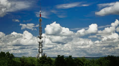 Radio tower with clouds Stock Footage