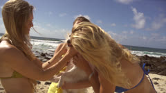 Stock footage dog -Beautiful women hugging dog on beach Stock Footage