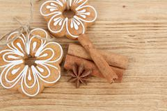 Gingerbread cookies with star anise and cinnamon Stock Photos