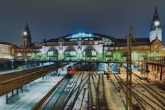 the railway station in hamburg, germany - stock photo