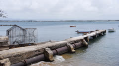 Rustic decrepit fishing fishermen pier Stock Footage