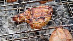 Sirloin steak prepared on the barbecue grill. Stock Footage