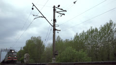 Freight train shot from low angle Stock Footage