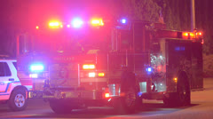Firetruck With Lights Flashing Stock Footage