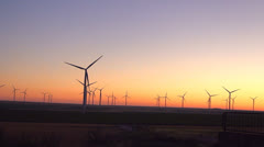 Wind Turbines in Agriculture Field, Windmill on Cultivated Land, Sunset Stock Footage