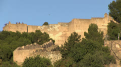 Malaga Fortress with Visitors Stock Footage