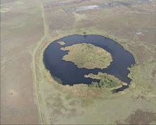 Erial shot Shallow puddle or fen in moorland - Dwingelderveld National Park Stock Footage