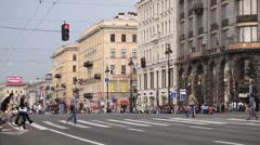 Stock Video Footage of Pedestrian crosswalks on the Nevsky Avenue in Saint-Petersburg, Russia.