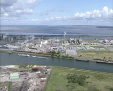 Aerial shot Industrial area Aldel Aluminum smelter, The Netherlands Stock Footage