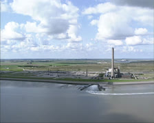 Aerial shot Eemscentrale power plant at Eemshaven, The Netherlands Stock Footage