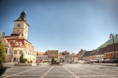 city center of brasov, romania - stock photo