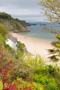 Tenby North beach Wales - stock photo