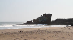 An old shipwreck Stock Footage