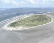Aerial shot Rottumeroog, an uninhabited island in the Wadden Sea 02 Stock Footage