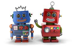 Toy robot buddies - stock illustration