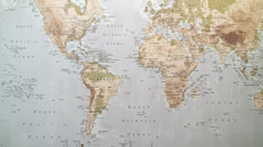 World map weather report man Stock Footage