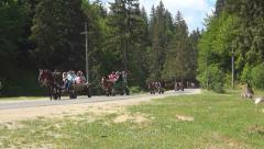 Rural Tourism, Tourists in Carts, Tour Trip in Mountain, People Countryside Stock Footage