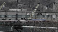 Coal cranes railroad Stock Footage