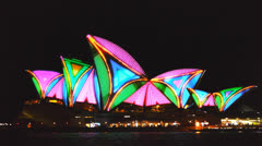 Colorful sydney opera house Stock Footage