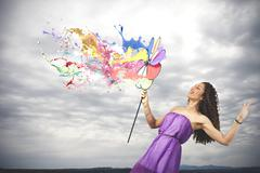 Colorful fashion concept with catherine wheel Stock Photos