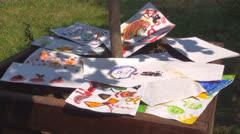 Children's Paintings, Watercolors, Paintings to Dry, Kindergarten, Education Stock Footage