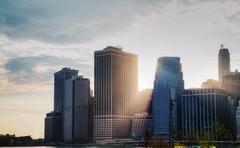 new york city cityscape at sunset - stock photo