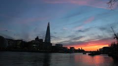 City Hall, The Shard and Thames River at Dusk - London, UK - 1 Colorful sunset Stock Footage
