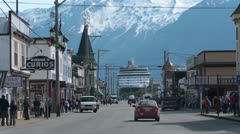 Main Street Skagway Alaska cruise ship port historic Gold Rush HD 7178 Stock Footage
