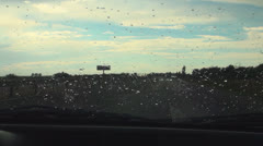 POV Driving on Road on a Summer Stormy, Rainy Whether, Low Visibility Traffic Stock Footage