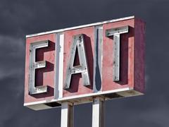 retro eat sign thunderstorm - stock photo